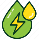 drop, ecology, electric, green, oil, power, water icon
