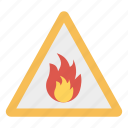 board, fire, flame, sign icon