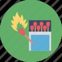burn stick, fire, flame box, flame stick, matchbox icon