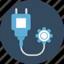 cog, cog settings, plug, power settings icon