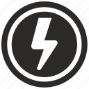 electricity, electric, power, round icon