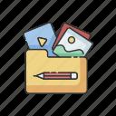 creativity, folder, gallery, marketing, portfolio, project management, visual icon