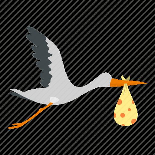 baby, bird, birth, child, cute, newborn, stork icon