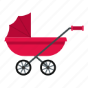 baby, carriage, child, magenta, pram, stroller, wheel icon