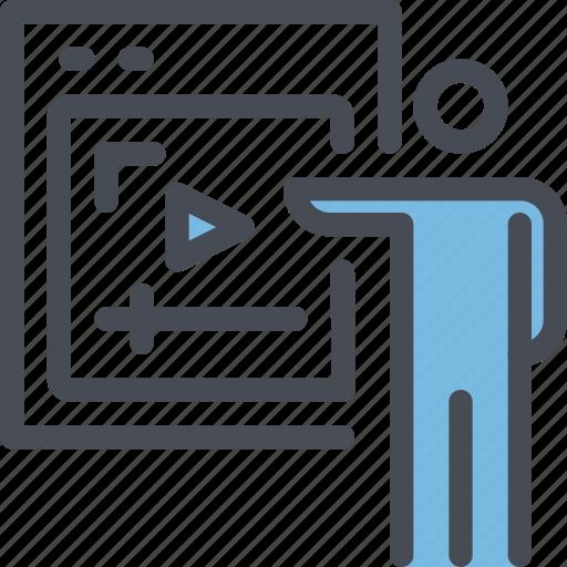 icon, internet, lecture, lesson, multimedia, play, video icon