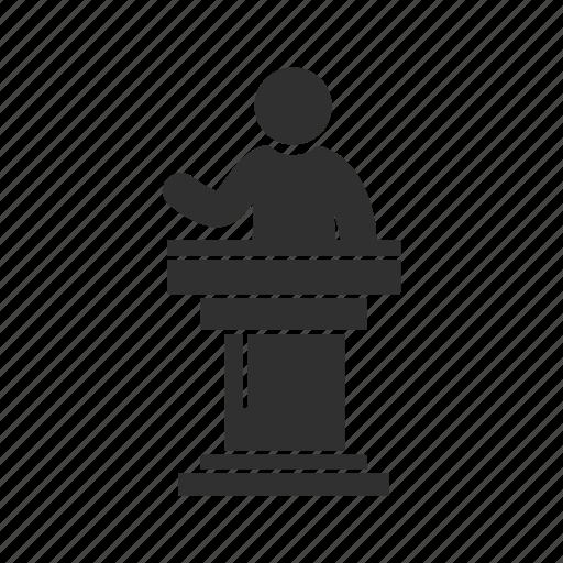 conference, male speaker, presentation, speaker icon