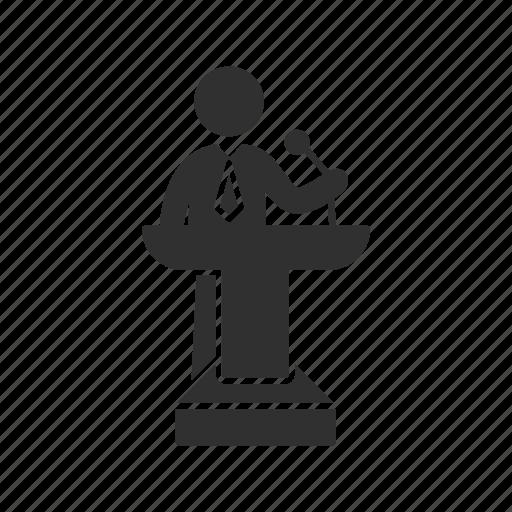 conference, male speaker, podium, speaker icon