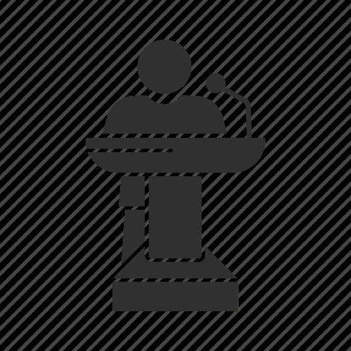conference, male speaker, podium, speech icon