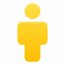 client, human, people, person, profile, user, yellow icon