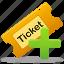 add, create, ticket icon