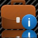 briefcase, business, info icon