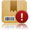 package, product, warning icon