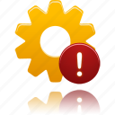 process, setting, warning, wheel icon
