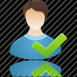 accept, administrator, check, male, man, student, user icon