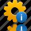 info, process, setting, wheel icon