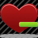 delete, favorites, from, heart, remove icon