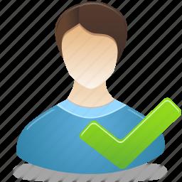 accept, administrtor, check, male, man, user icon