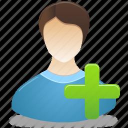 add, administrator, male, man, user icon