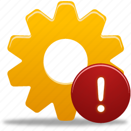 process, warning, wheel icon