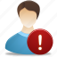 administrator, male, man, user, warning icon