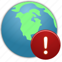 globe, warning icon