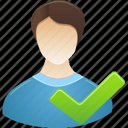 accept, administrator, male, student, user icon