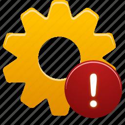 process, setting, warning, wheel icon