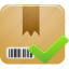 accept, check, package, product icon