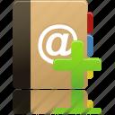 add, addressbook, phonebook, contact, book, notebook, address icon