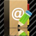 edit, phonebook, addressbook, writing, contact, book, address icon