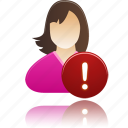 female, girl, mather, student, user, warning, woman icon