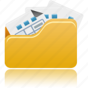 files, folder, full, open, archive, documents, office icon