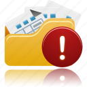files, folder, open, warning icon