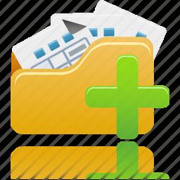 add, add to open folder, folder, open, to icon