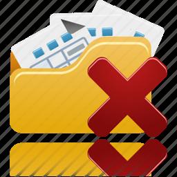 delete, folder, open icon