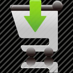 cart, insert, shopping, shopping cart icon