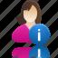 female, girl, info, student, user icon