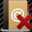 addressbook, phonebook, remove, remove addressbook icon