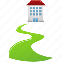 building, direct, home, house, real estate, walkway icon