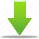 arrow, down, download, green arrow icon