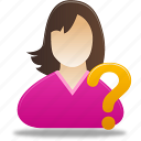 female, female user, girl, help, question, student, user icon