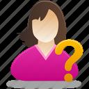 female, female user, question, user, student, girl, help