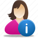 female, female user info, girl, info, student, user icon