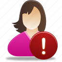 female, girl, student, user, warning icon