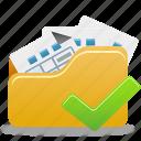 accept, check, folder, folder check, open, open folder icon