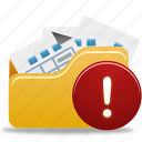 folder, open, open folder, warning icon