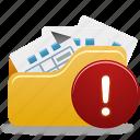 folder, open, open folder, warning icon