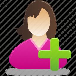 add, add female user, add user, female, girl, student, user icon