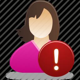 female, girl, student, user, warning icon