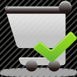 accept, cart, comfirm, shopping, shopping cart, shoppingcart icon